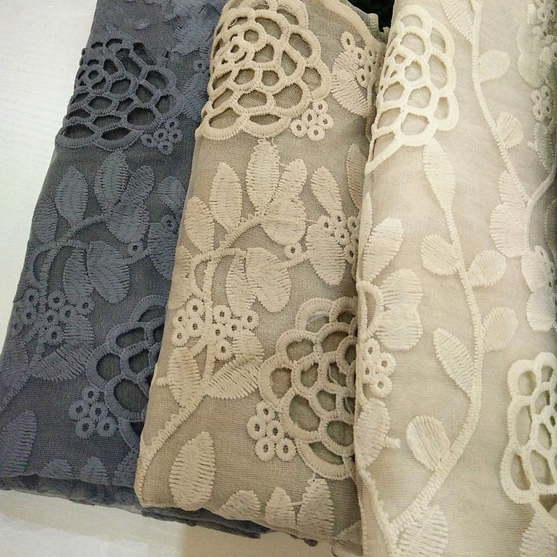 1PC Luxury Embroidery Lace Scarf Lace Flower Borders Scarves Women Plain Embroider Flowers Shawl Muslim Hijabs Scarfs Fashion