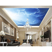 3D Ceiling Wall Paper For Living Room Bedroom Home Decoration Custom Blue Sky White Clouds Murals