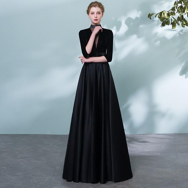 Aliexpress.com : Buy CEEWHY High Collar Vintage Black Evening Dress ...