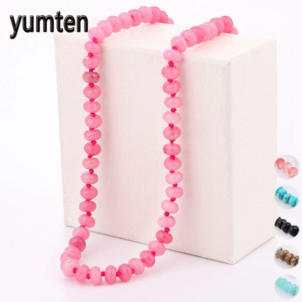 Yumten mujeres rosa collar de cadena corta joyería de piedra natural - Joyas - foto 1