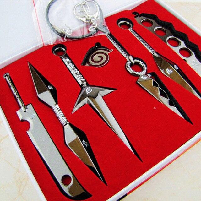 Naruto 7 Pcs Mini Metal Weapons Model Sword Kunai Knife Set Cosplay Toy