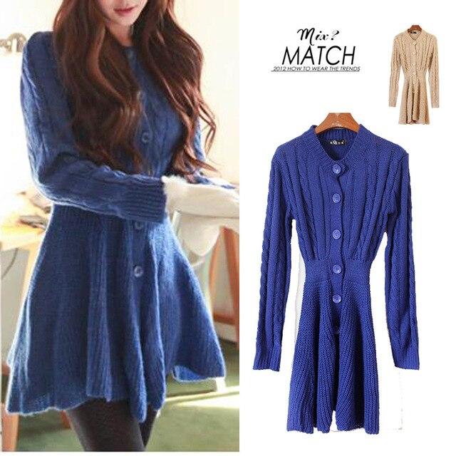 Designer Women's Slim high waist long cardigan sweater coat/Long ...