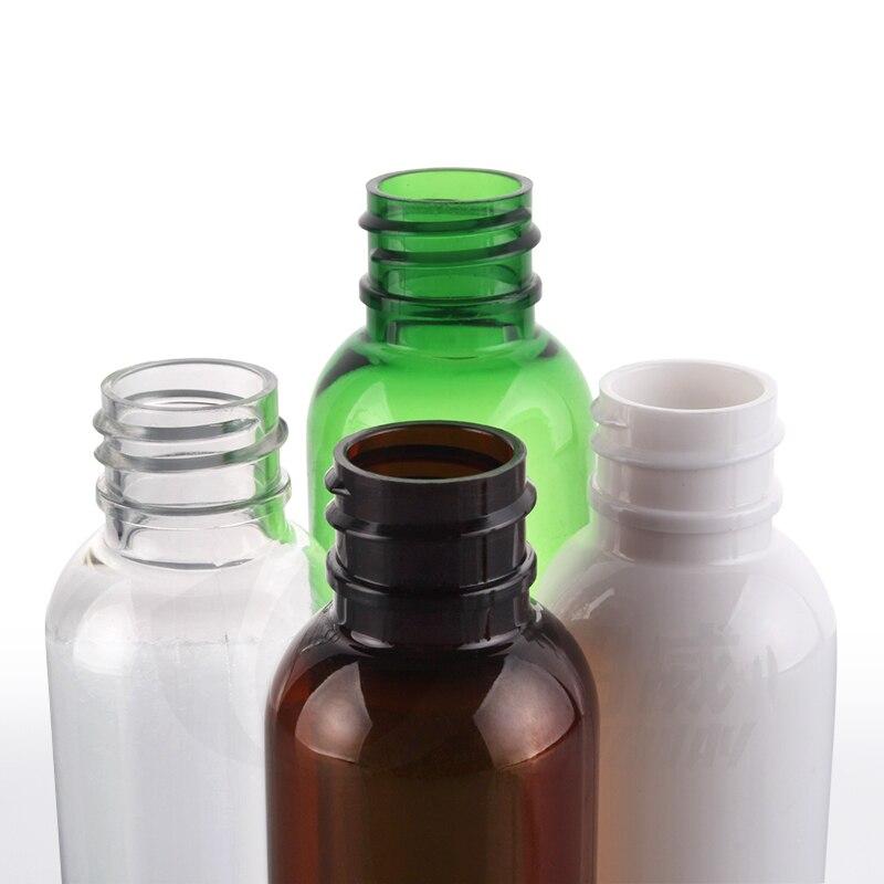 Venta al por mayor 100 piezas 60ML blanco claro ámbar o verde de plástico botellas de cosméticos con rociador de niebla-in Botellas rellenables from Belleza y salud    2
