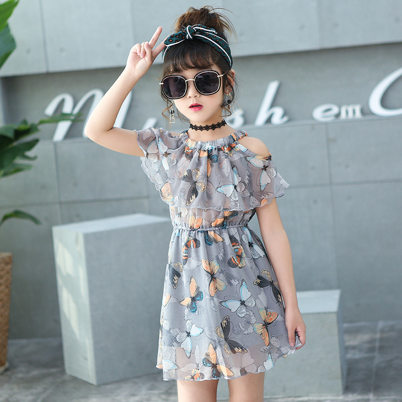 Arnês Borboleta HANQIYAHULI Meninas do Vestido do Verão 2019 Da Marca Crianças Vestido de Princesa Traje para As Crianças Roupas de Bebê Vestido
