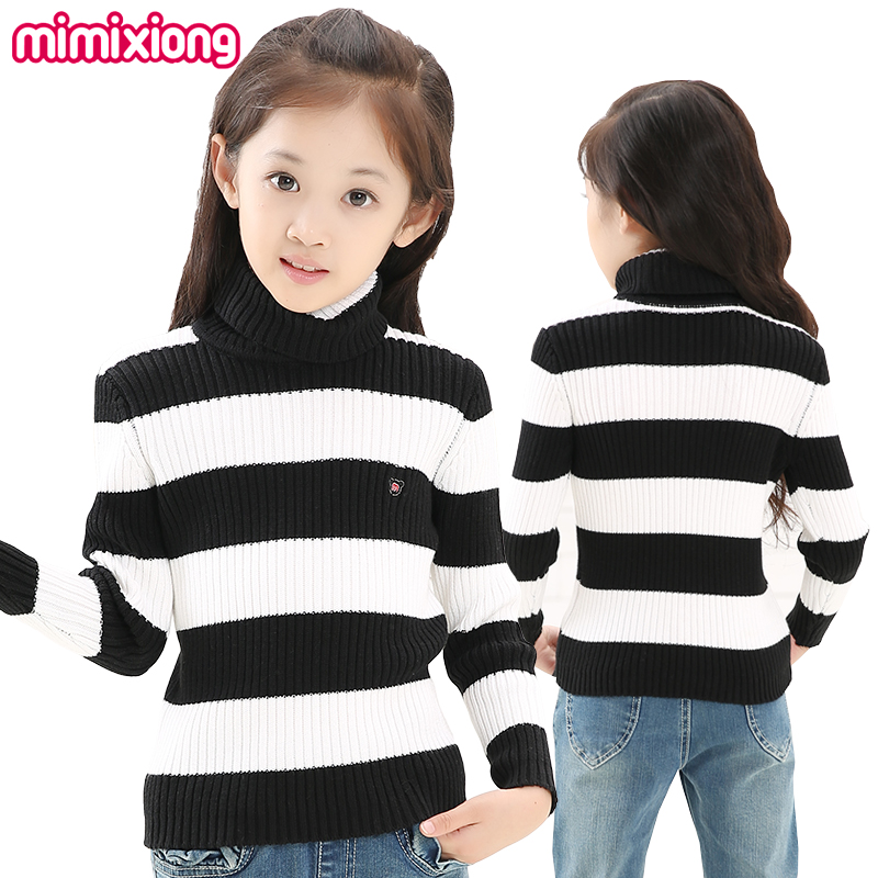 Girls Black And White Sweater Winter Cotton Striped Toddler Girl Turtleneck Knit Pullover Autumn Children's Knitwear Long Sleeve