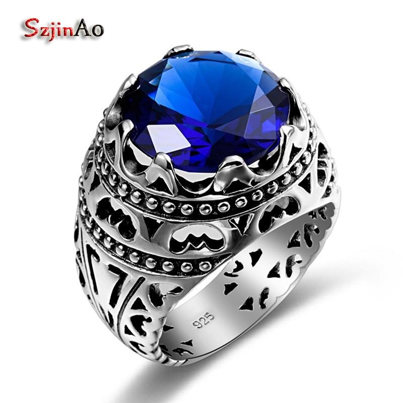 Szjinao Mode Ethnique Argent Anneau Bleu Pierre Joyas Vintage Cristales Saphir En Argent Sterling Anneaux Pour Femmes Hommes Rebajas