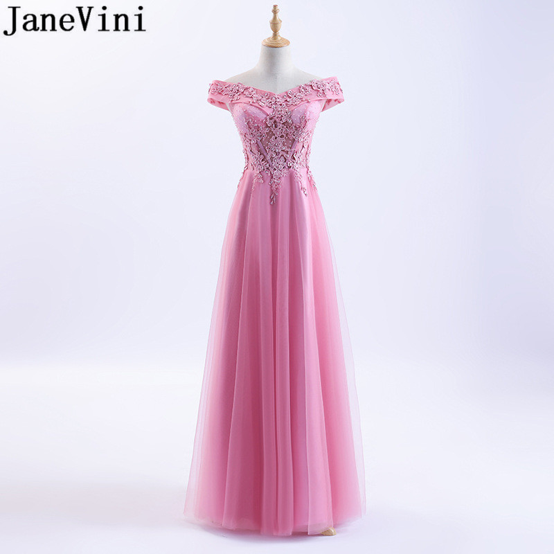 JaneVini Sexy Off Shoulder Pink   Bridesmaid     Dresses   2018 Beaded Long Tulle Prom   Dress   Formal Wedding Party Red Burgundy Lace Gown