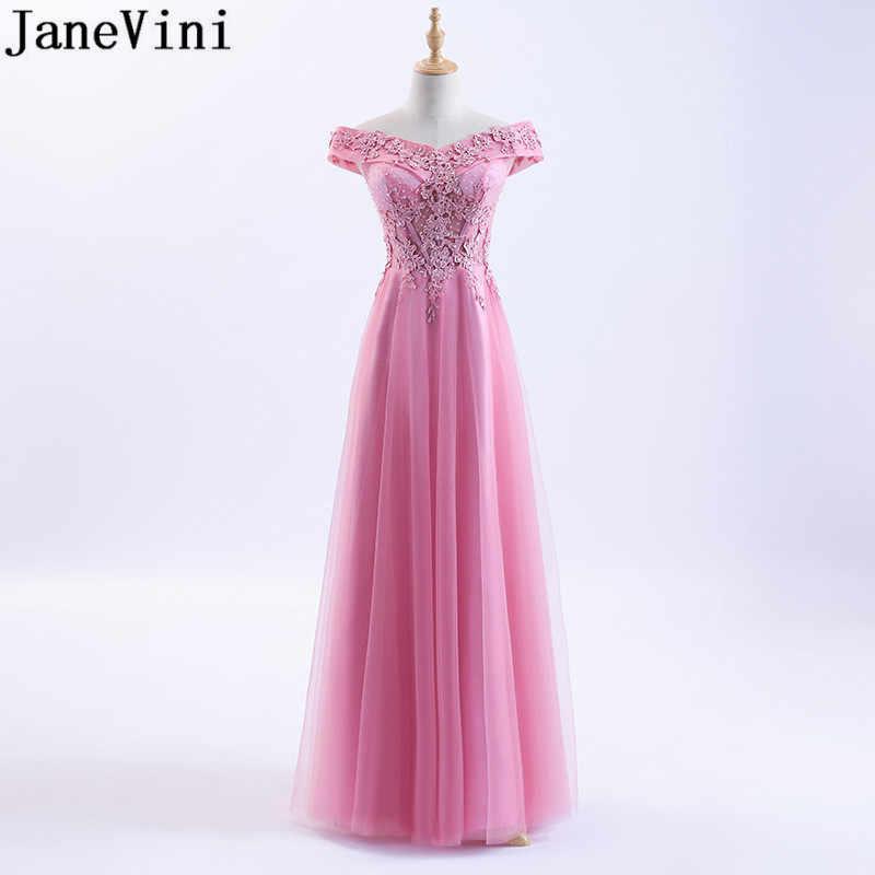 JaneVini Sexy Off hombro rosa de dama de honor vestidos 2018 con cuentas de tul baile de graduación vestido Formal boda fiesta de rojo burdeos, vestido de encaje de