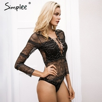 Simplee Lace Up Deep V Neck Black Lace Bodysuit Women Sexy Transparent Slim Intimates Long Sleeve