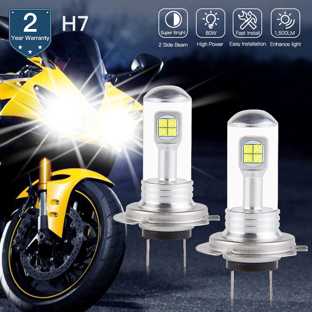 Bevinsee H7 LED Motorcycle Headlight H1 H3 H4 H7 H11 BA20D Bulbs 6500K For SUV ATV Truck UTV Truck Car Foglight Super White Bulb