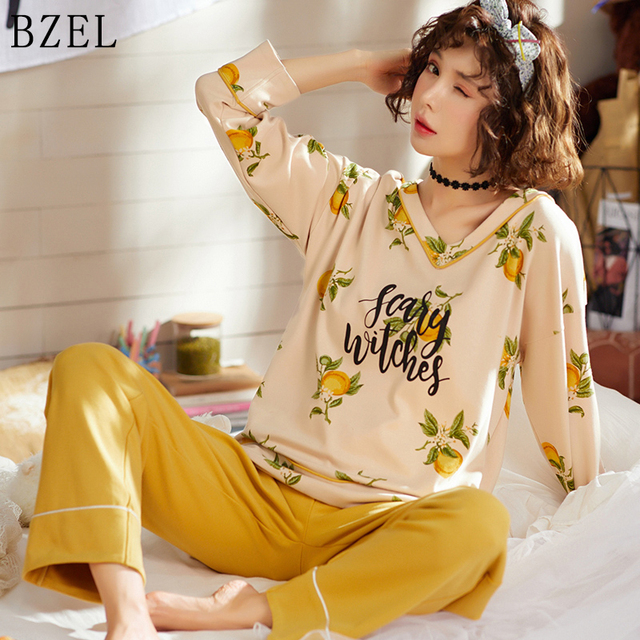 طقم بيجاما نسائي قطني طويل من BZEL قميص نوم نسائي برقبة على شكل حرف v + بنطلون ملابس نوم للسيدات طقم ملابس داخلية مكون من قطعتين