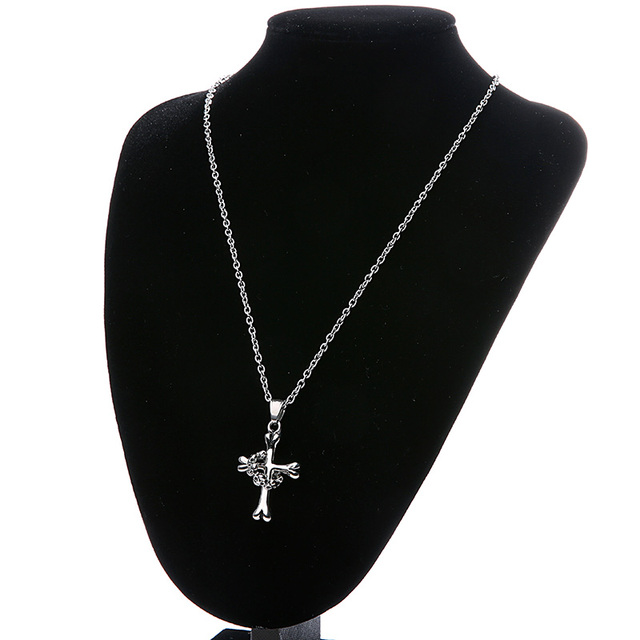 STAINLESS STEEL SKULL BONE CROSS NECKLACE