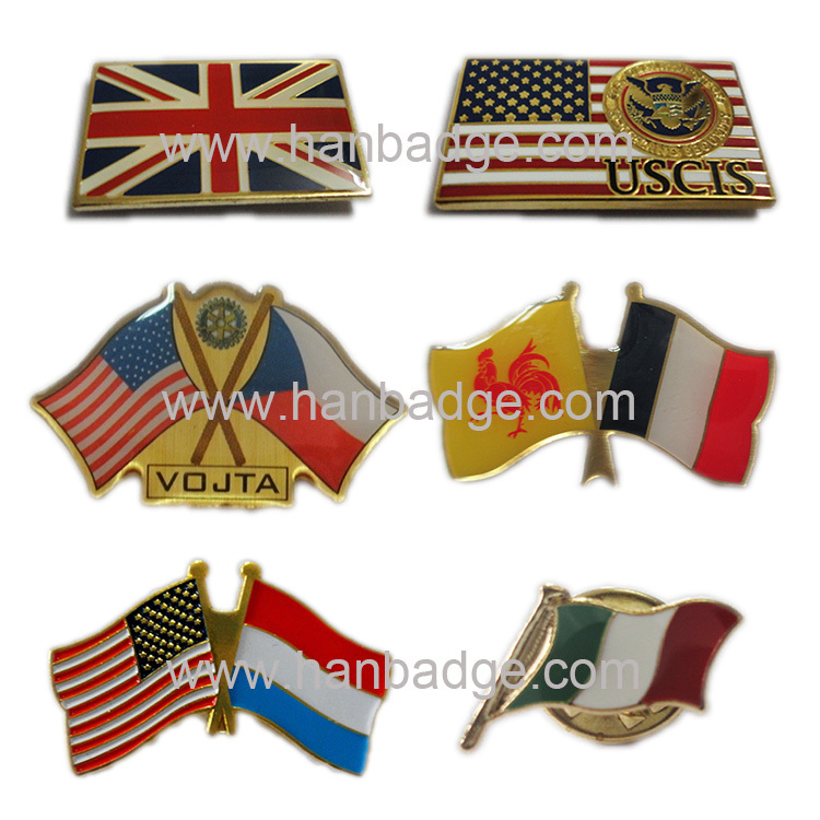 custom flag pins customized country pins badges custom lapel pins in gold or silver finish