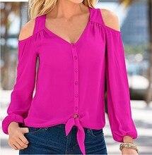Women slim off shoulder blouses spring autumn ladies sexy v-neck long sleeve chiffon shirts women shirts 5 colors tops