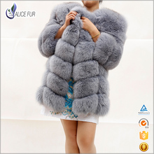 Wholesale Factory Price Genuine Fox Fur jacket horizontal strip design real fox fur coat for sale