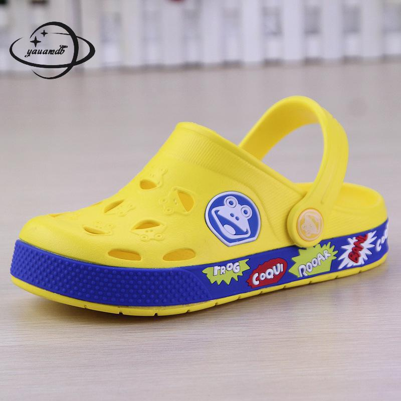 YAUAMDB kids Mules & Clogs 2018 summer EVA boy girl flat with sandals hollow out letter comfortable novelty children shoes zy35