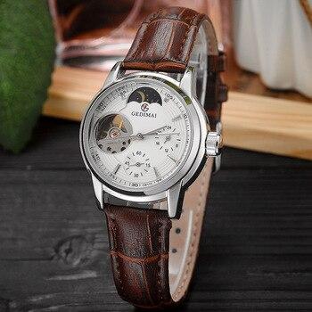 цена на GEDIMAI Luxury Fashion Women Watches Lady Watch Leather Dress Women Watch Automatic Mechanical Hollowing Wrist Watches Gift