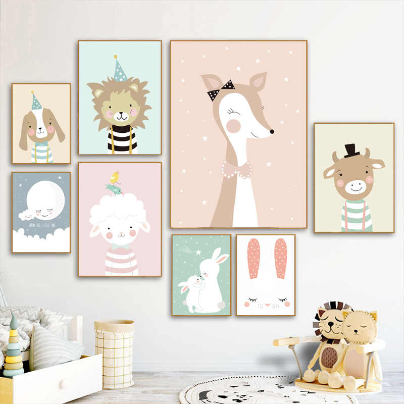 Rabbit Cow Lion Giraffe Cat Nordic Posters And Prints Wall Art Print Canvas Painting Nursery Animal Wall Pictures Baby Kids Room