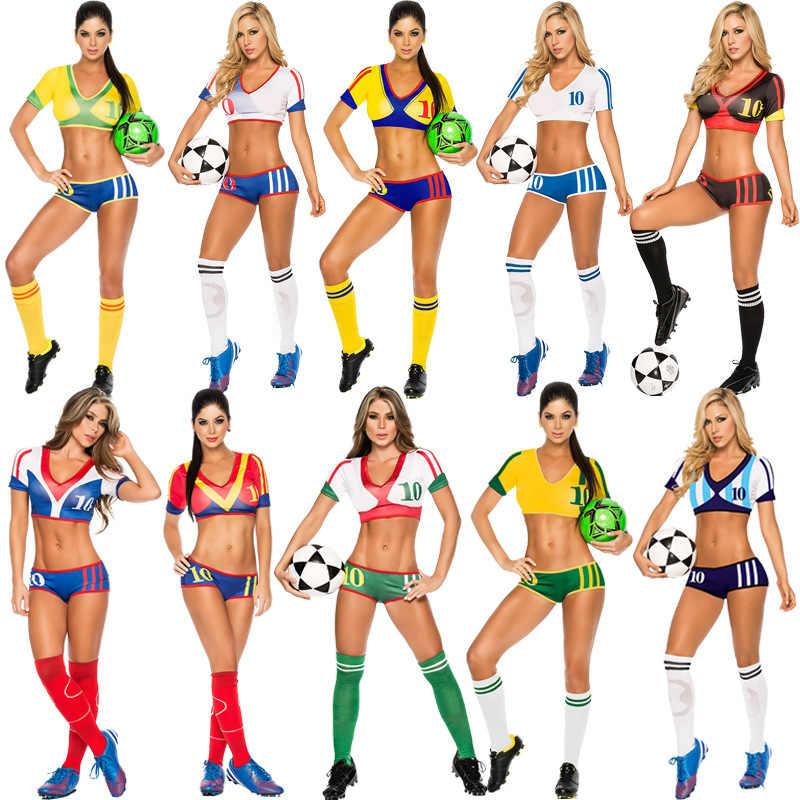 7027adcaa111 2018 Новый Кубок мира Футбол Детский костюм современные хип-хоп Костюмы для  девочек сексуальные костюмы
