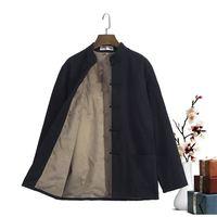 Winter New Style Black Thick Kung Fu Shirts Mandarin Collar Chinese Loose Tai Chi Top Hot Sale Cotton Clothing M 4XL