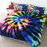 BlessLiving Tie Dye Bedding Set Luxury Colorful Tye Dye Duvet Cover Watercolor Blooming Home Textiles Stylish Bed Linen 3pcs
