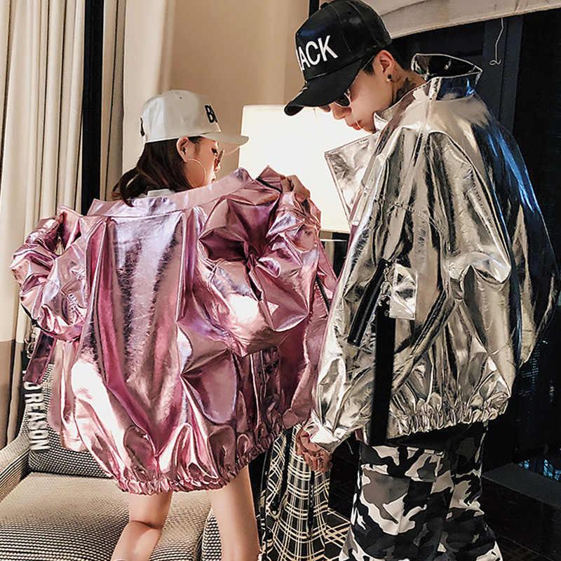 Japanischen Streetwear Jacken Helle Rosa Splitter Faux Leder Mäntel 2018 Mode Casual Windjacke Hüfte Hop PU Jacke