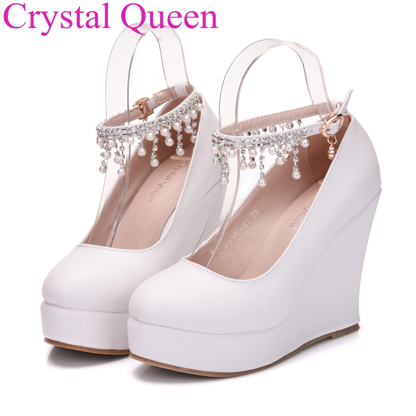Fashion white wedges pumps shoes platform wedges shoes for ...
