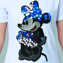 2016 New Fashion Summer Cotton Women T Shirts Cartoon Sequins Short Sleeve T Shirts Women Casual Tops Black And White  XXL B016