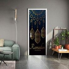 New muslim style sticker 3D simulation Door Removable waterproof PVC wall Bedroom living room DIY wallpaper