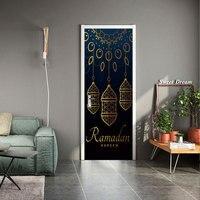New muslim style sticker 3D simulation Door sticker Removable waterproof PVC wall sticker Bedroom living room DIY wallpaper