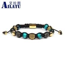 Ailatu Luxury Men Jewelry Micro Pave Ball Braided Bracelet N