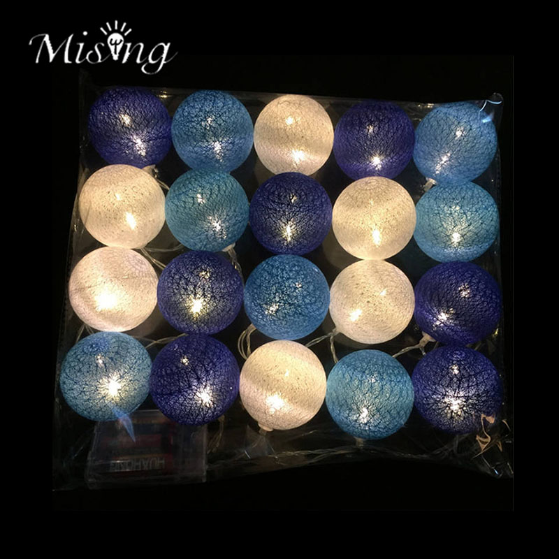 Mising 3.2M 20 LED Blue Cotton Ball String Lights 3*AA Battery LED Outdoor Fairy Lights for Festival Christmas Party Decoration