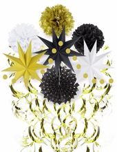 Sunbeauty 9pcs Black White and Gold Decoration For Party Set Tissue Pom Poms Tassel Paper Fans for Black&Gold Decorations