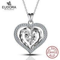Eudora 100% Pur 925 Sterling Argent De Luxe Coeur Cristal dans Coeurs Pendentif Collier pour les Femmes de Bijoux De Mode Cadeau Romantique