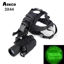 Free Shipping! Gen1 1X24/3X44 Infrared night vision monocular IR Goggles Monocular+Hand Free Head Mount Kit #NV550 цена