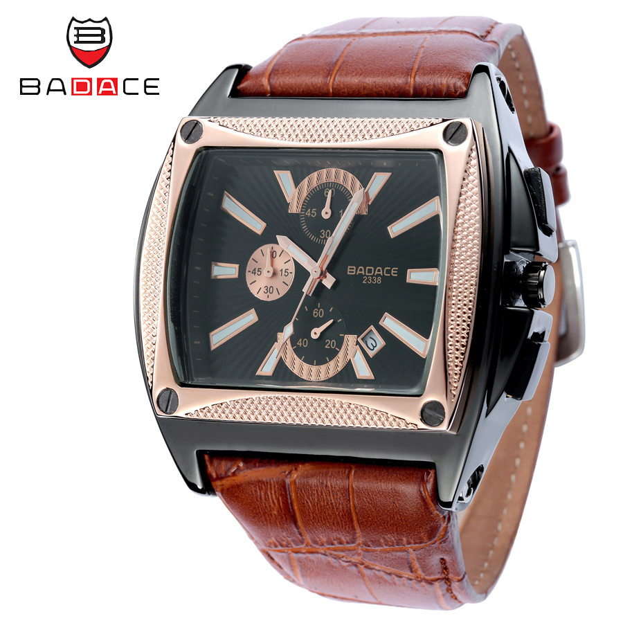 BADACE Fashion Luxury Watch Men Leather Strap Hour Square Qu
