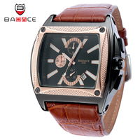 BADACE Brand Fashion Man Watch Leather Strap Square Quartz Watches Multifunction Casual Waterproof Wristwatches Clock 2338
