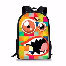 Noisydesigns 3D Funny Monster Pixel Pattern Printing 16 Inch Cartoon Boy Girl School Bags Student Book Bag Backpack Gift Bagpack