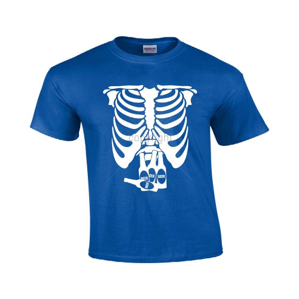 Skeleton Beer Mens Womens T-shirt Rib Cage Bones Halloween Beer Custume