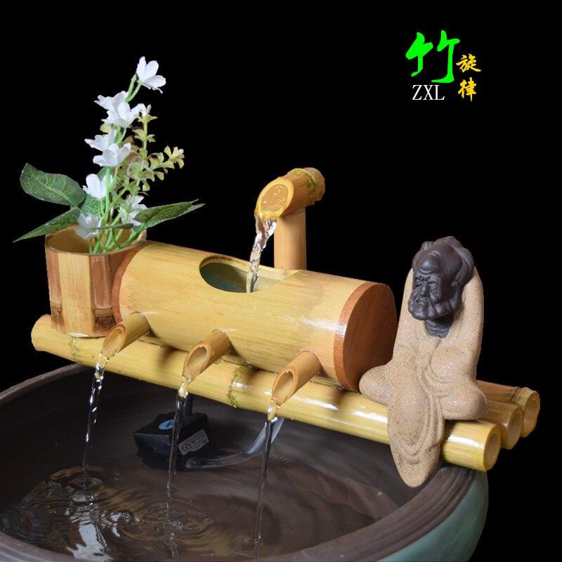 Chinois chanceux gourde fontaine d'eau bambou chanceux filtre de bureau salon bureau décoration ameublement pendaison de crémaillère cadeau