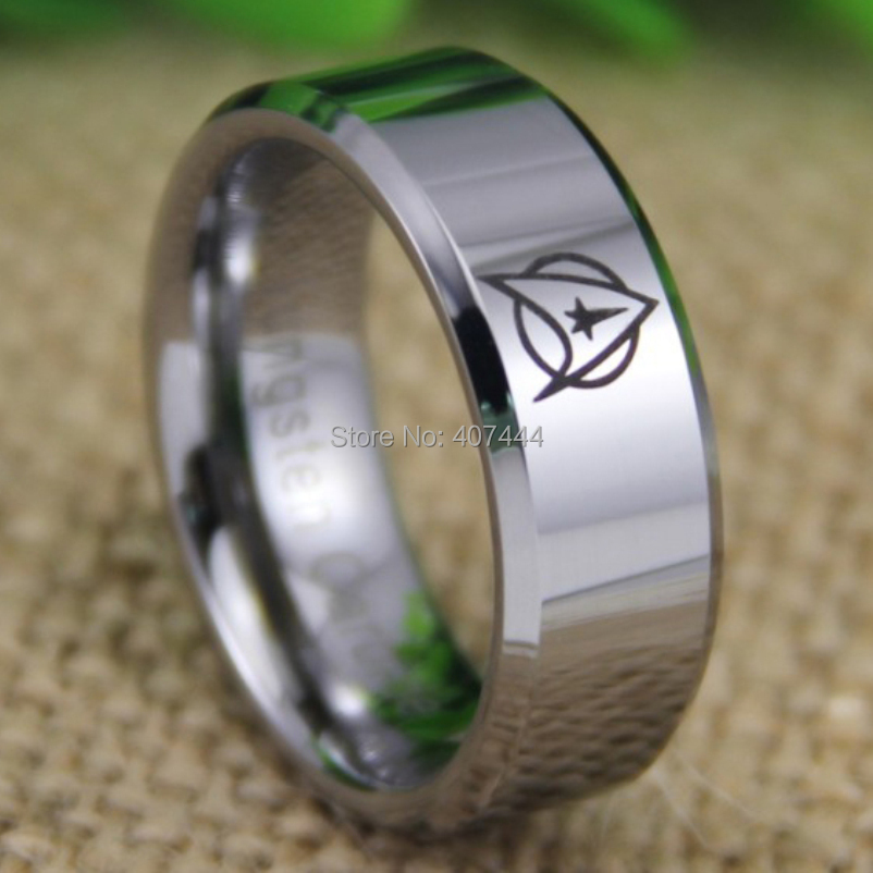 Free Shipping YGK JEWELRY Hot Sales 8MM Shiny Silver Beveled The New Star Trek New Men's Tungsten Wedding Ring