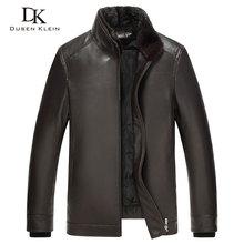 Luxury Mens leather jacket Dusen Klein 2017 New Nature sheepskin Duck down liner Detachable Mink