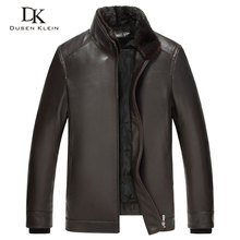 Luxury Mens leather jacket Dusen Klein 2017 New Nature sheepskin Duck down liner Detachable Mink fur Collar Coats 61Z17003