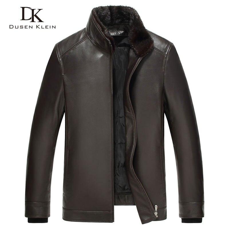 Luxury font b Mens b font leather font b jacket b font Dusen Klein 2017 New