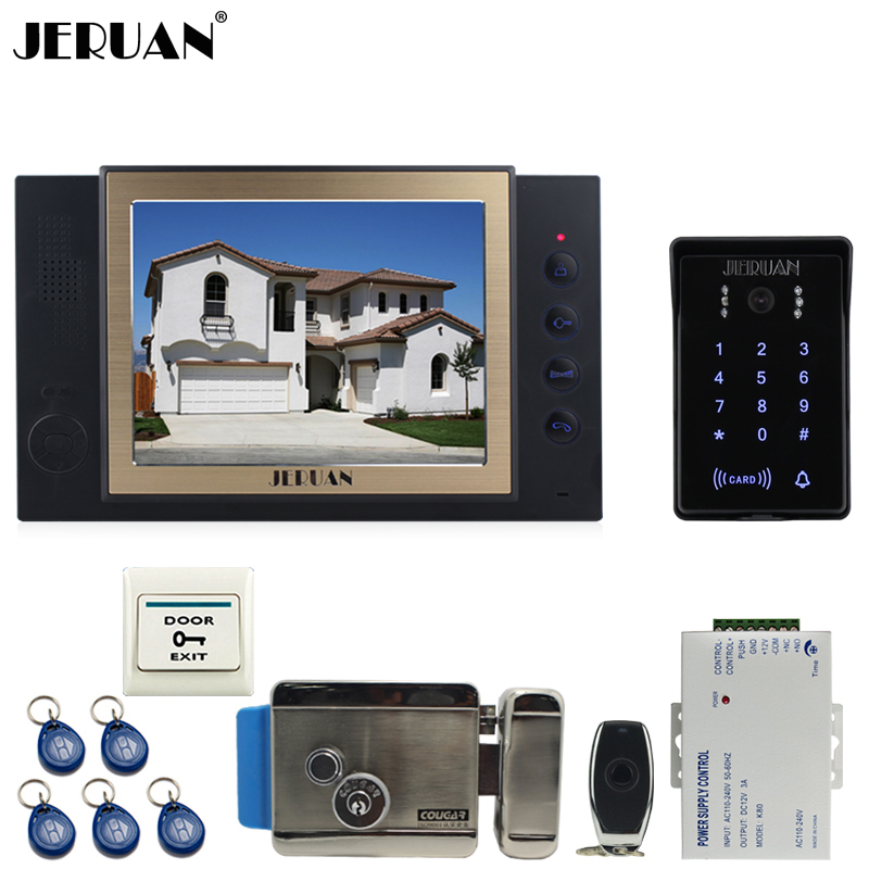 JERUAN 8 inch TFT video door phone Record intercom system New RFID waterproof Touch Key password keypad Camera 8G SD Card E-lock jeruan 7 lcd video door phone record intercom system 3 monitor new rfid waterproof touch key password keypad camera 8g sd card