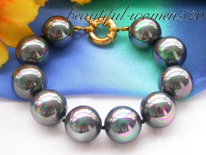 "Z3614 8"" 16mm peacock black round south sea shell pearl bracelet"