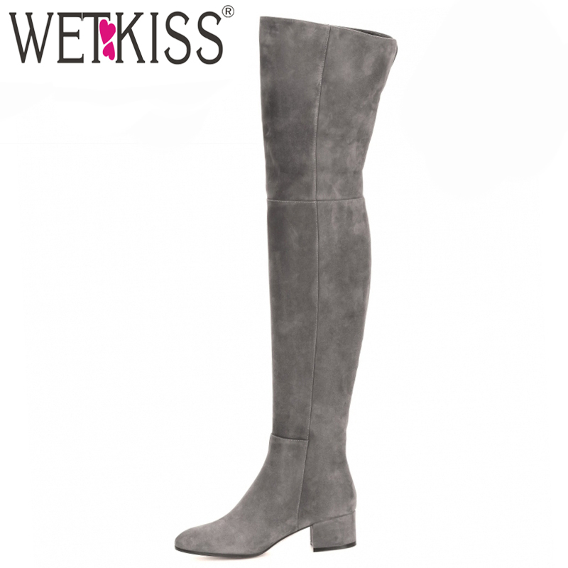 WETKISS New Arrive Superstar Over Knee Boots Women Fashion Winter Boots Woman Shoes Autumn Zip Thick Heel Thigh High Boot Female Обувь