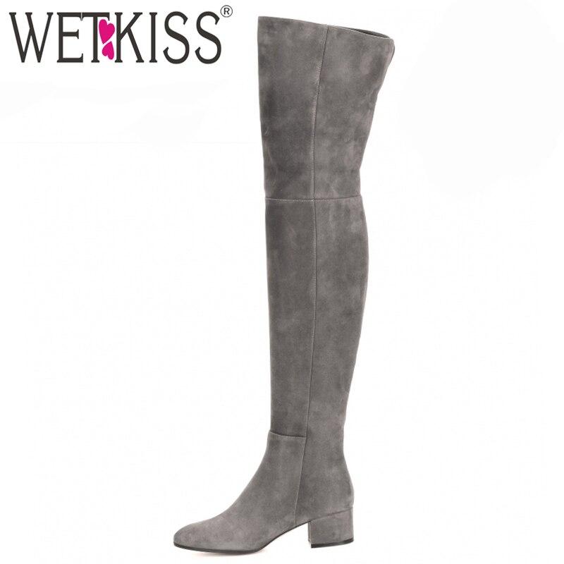 Ayakk.'ten Diz Üstü Çizmeler'de WETKISS Yeni Gelmesi Superstar Diz üstü Çizmeler Kadın Moda Kışlık Botlar Kadın Ayakkabı Sonbahar Zip Kalın Topuk Uyluk Yüksek Çizme kadın'da  Grup 1