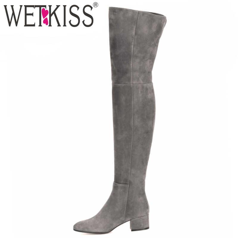 WETKISS yeni gelmesi Superstar diz üstü çizmeler kadın moda kışlık botlar kadın ayakkabı sonbahar Zip kalın topuk uyluk yüksek çizme kadın