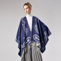 Winter Scarf Women Blue Wrap Scarves Cape Blanket Cashew nuts Tassels Thick Warm Soft Double Layer Large Shawl 130*150cm